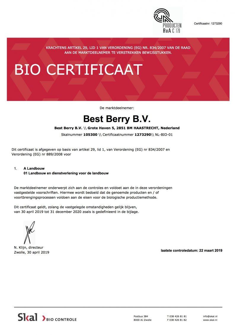 Eu Bio Certificaat 2019